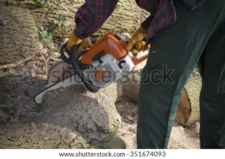 closeup of a man holding a chainsaw sawing firewood out of oak trees