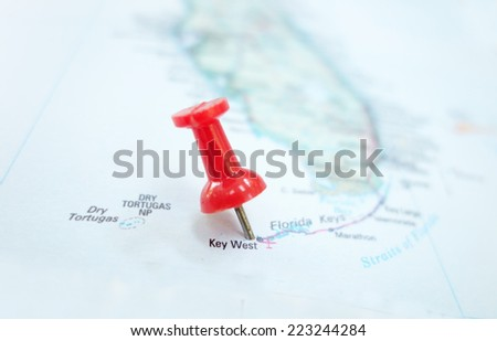 Closeup of a map of Key West Florida and red pin                                - stock photo