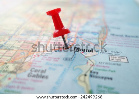 Closeup of a map of Miami Florida with red pin                                - stock photo
