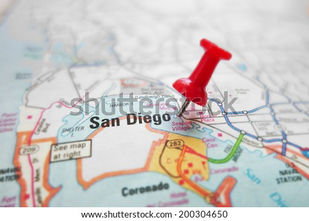 Closeup of a map of San Diego, California with red pin                                - stock photo