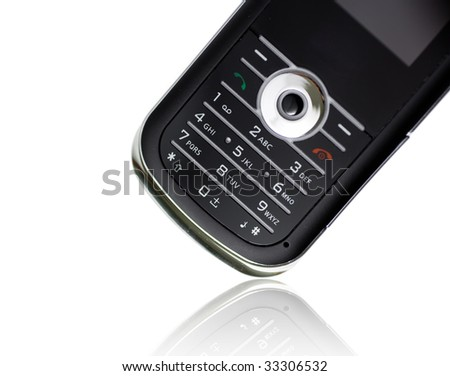Closeup of a mobile phone with reflection
