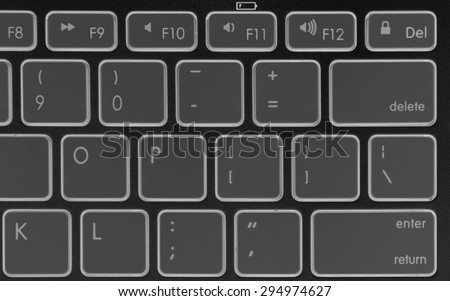 Closeup of a modern aluminum keyboard