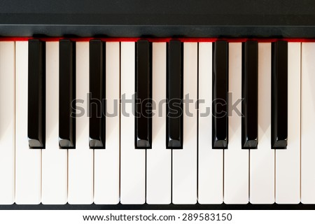 Closeup of a modern piano keyboard