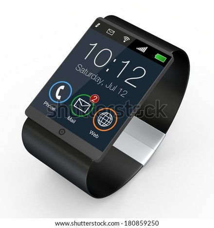 closeup of a modern smartwatch (3d render) - stock photo