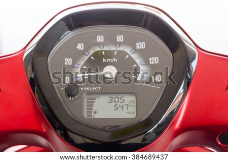 Closeup of a motorcycle speedometer