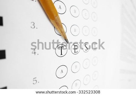 Closeup of a multiple choice exam with TEST text