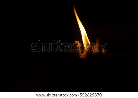Closeup  of a old candle with dark background