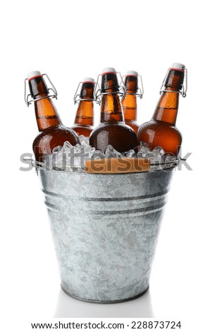 Closeup of a party bucket filled with ice and 5 brown swing top old fashioned beer bottles. Vertical format on white with reflection. - stock photo