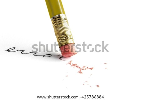 "Closeup of a pencil erasing an ""error"", on white - stock photo"
