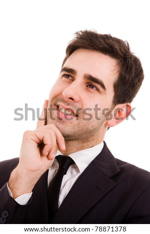 Closeup of a Pensive young business man, isolated on white - stock photo