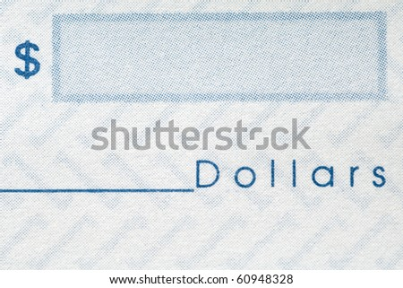 closeup of a personal check - dollar sign and space for the amount