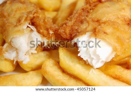Closeup of a piece of cod broken into two pieces