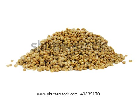 closeup of a pile of lentils isolated on a white background