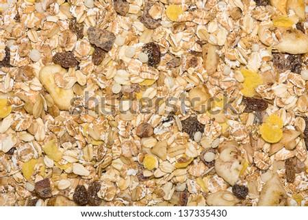 Closeup of a pile of muesli - stock photo