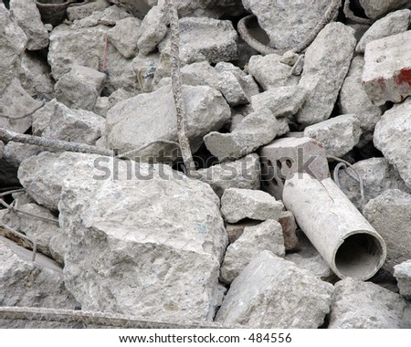 Closeup of a pile of rubble from demolished building - stock photo