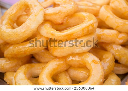 closeup of a pile of  typical  donuts - stock photo