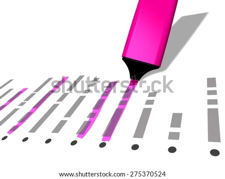 closeup of a pink pen marker used to highlight selected elements of a list, referring to concepts such as choice, selection, check list, identification, organization, as well as administrative work