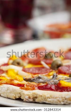 closeup of a pizza  - stock photo