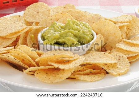 closeup of a plate of round corn tortilla chips with guacamole - stock photo