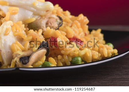 closeup of a plate of seafood paella