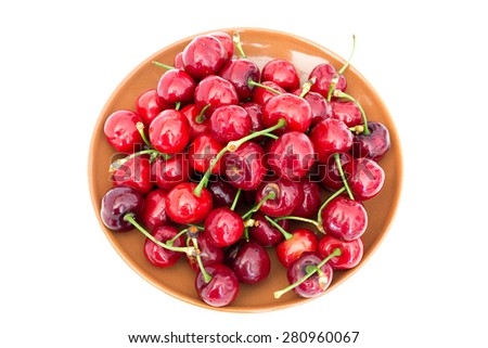 Closeup of a plate with cherries