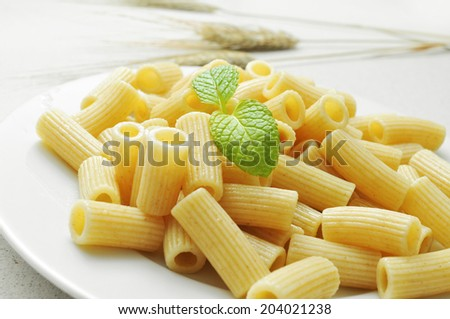 closeup of a plate with cooked penne rigate - stock photo
