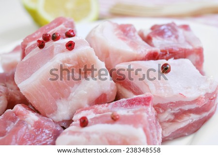 closeup of a plate with diced raw pork chops