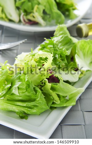 closeup of a plate with mesclun, a mix of assorted salad leaves
