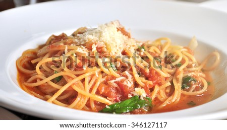 closeup of a plate with spaghetti