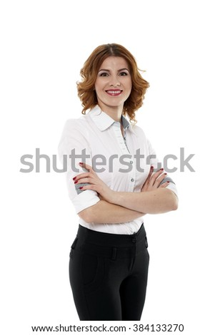 Closeup of a positive and friendly businesswoman on white background - stock photo