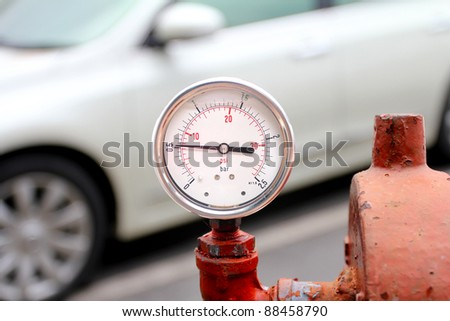 Closeup of a pressure meter - stock photo
