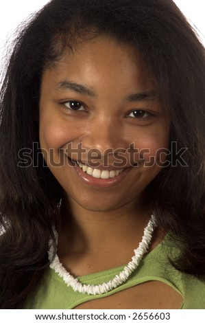 Closeup of a pretty young African American girl - stock photo