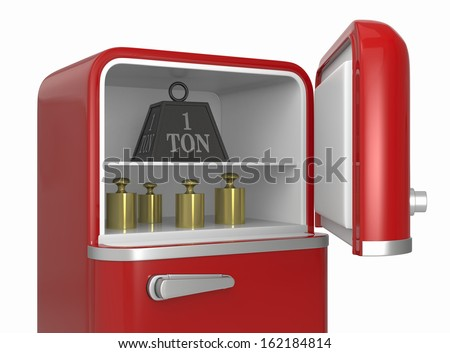 closeup of a refrigerator with a big weight and some calibration weights (3d render) - stock photo