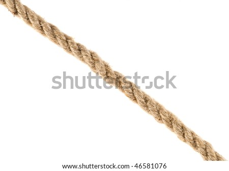 Closeup of a rope isolated on white - stock photo
