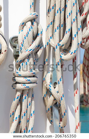 closeup of a ropes in a luxury sail boat  - stock photo