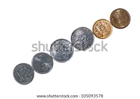 Closeup of  a row of Indian Coins, placed diagonally, 5 rupees, 2 rupees, 1 rupee, isolated on white background, copy space, - stock photo