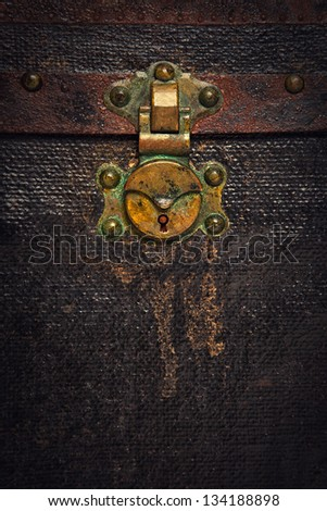 Closeup of a Rusty Old Chest Trunk - stock photo