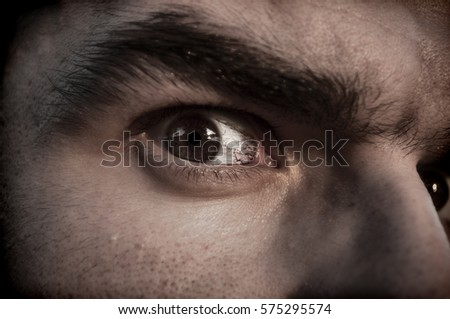 Closeup of a scary man's eye