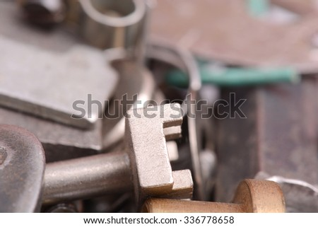 Closeup of a section of a historic old metal detail - stock photo