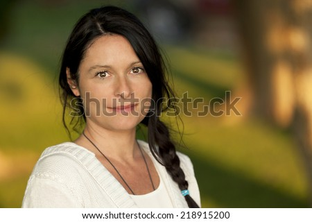 Closeup Of A Serious Mature Woman - stock photo