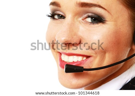 Closeup of a smiling customer service girl