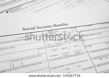 closeup of a Social Security Benefits form - stock photo