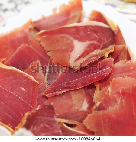 closeup of a some spanish serrano ham tapas