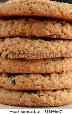 Closeup of a stack of delicious soft oatmeal raisin cookies
