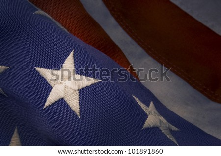 Closeup of a star stitched on an America Flag