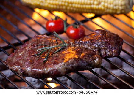 closeup of a steak on a grill - stock photo