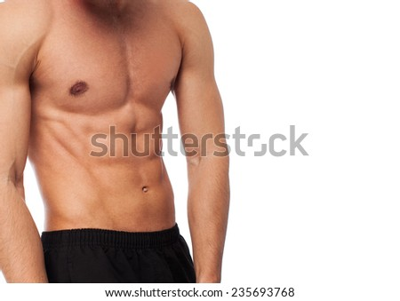 closeup of a strength fitness body over white