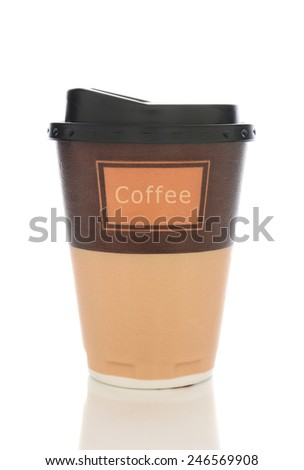 Closeup of a styrofoam coffee cup with lid isolated on white with reflection.  - stock photo