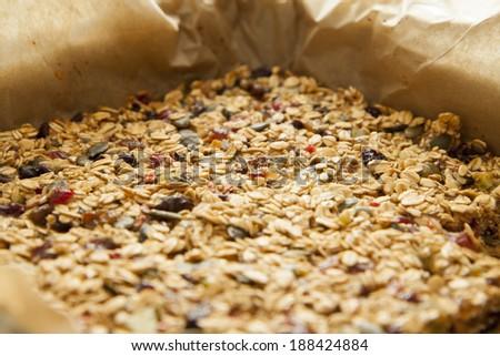 Closeup of a tasty homemade pile of muesli - stock photo
