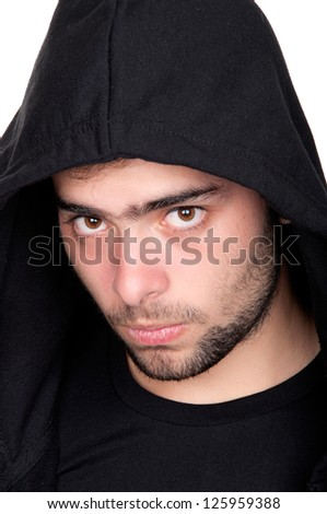 Closeup of a teenager wearing a hoodie, underlit - stock photo